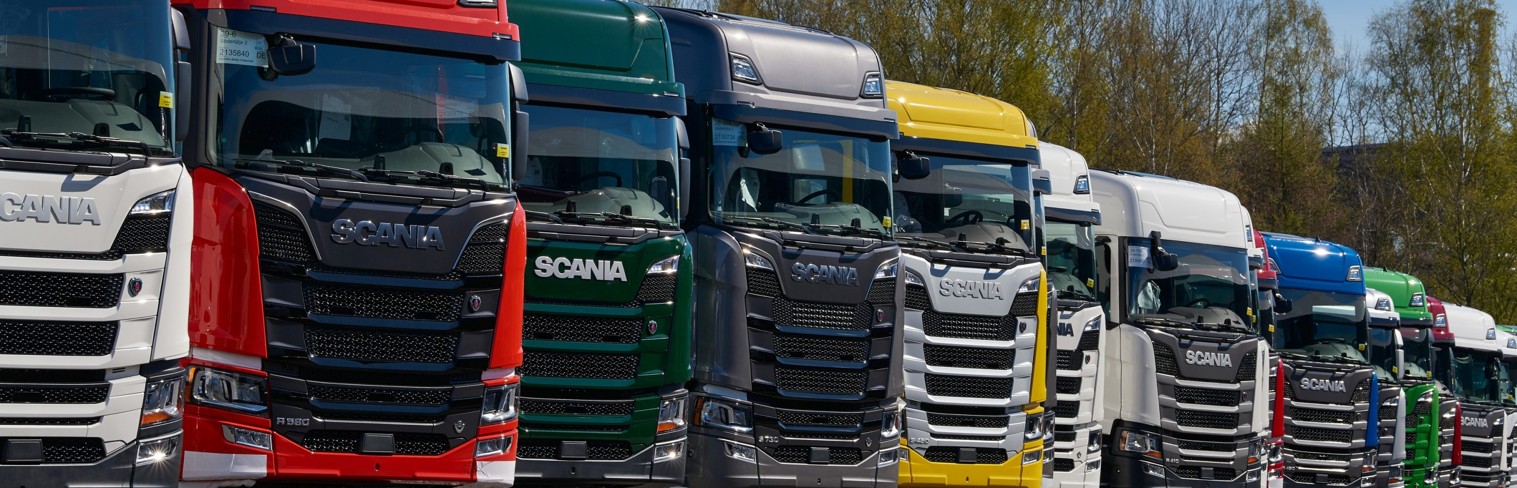 Scania trucks ready for delivery.